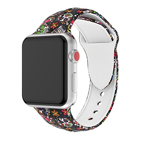 Price comparison product image Wenicaca Bracelet for Apple Watch 38mm / 42mm iWatch Replacement Wrist Band Pattern Printed Leather (Skeleton,  38mm)