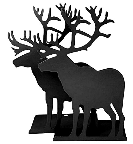 Fasmov Elk Nonskid Bookends Art Bookend,1 Pair (Black)