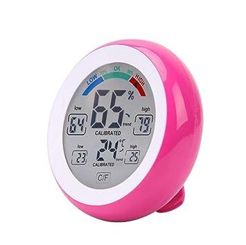 taottao termómetro de control de pantalla redonda casa Digital higrómetro humedad interior, color rosa: Amazon.es: Deportes y aire libre