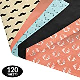 Mustaches, Arrows, & Antlers Gift Wrapping Tissue Paper Set - 120 Sheets - Patterned and Solid Color