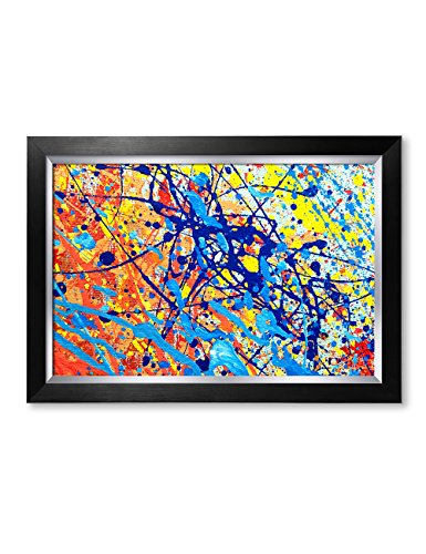 IPIC - Abstract Jackson Pollock Style Artwork. Giclee Print on Canvas Wall Art for Home Decor. Framed size: 27x19