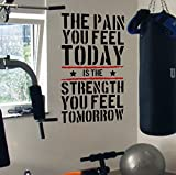 Pain Today Strength Tomorrow Gym Motivational Wall Decal Quote