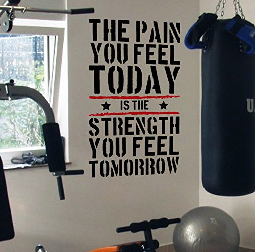 Pain Today Strength Tomorrow Gym Motivational Wall Decal Quote by DesignDivil