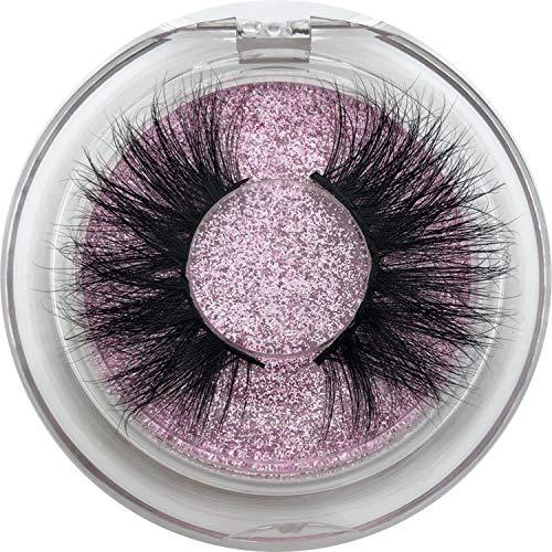 SHILINWEI 25Mm Long 3D Mink Lashes E01 Extra Length Mink Eyelashes Big Dramatic Volumn Eyelashes Strip Individual False Eyelash,C,0.15Mm,E09 Only Tray,Other