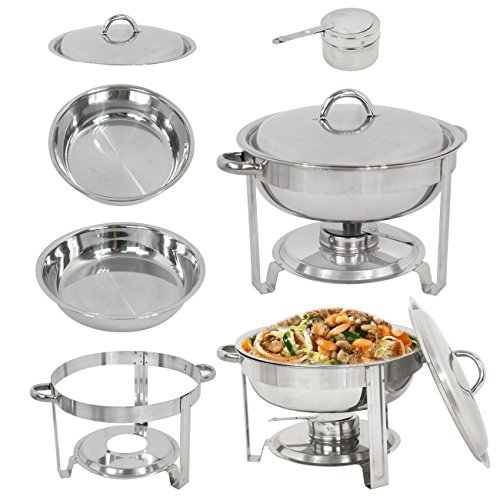LEMY Full Size Deluxe Round Chafing Dish 5 Quart Capacity Stainless Steel Chafer Dish with Fuel Holder Dinner Serving Buffet Warmer - Chafer Capacity Round