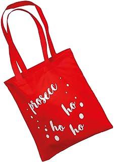 Christmas Shop - Borsa riutilizzabile per la spesa Prosecco Ho Ho Ho natalizia