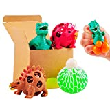 Dinosaur Stress Squeeze Toys 3 Pack with 1 Mesh Grape Ball, 4 Set Sensory Fidget Gift for Kids and Adults, Cute Dino Decompression Tool to Kill Time, Ideal for Stress Relief, ADD/ADHD/Autism/OCD