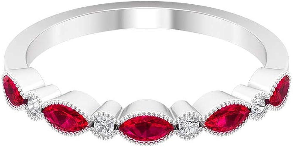 Anillo de eternidad de rubí con forma de marquesa de 0,65 ct, certificado SGL, anillo de boda, declaración de mujer, anillo de piedra preciosa, 18K Oro
