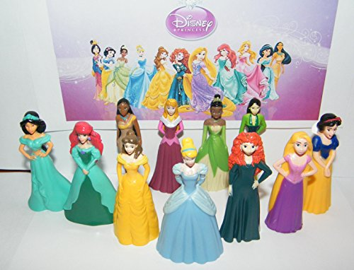 Disney Princess Figure Set of 13 Toy Kit with Fun Figures and Neat Tattoos Featuring Both Classic and New with Belle, Cinderella, Ariel, Rapunzel, Jasmine and ()
