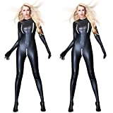 Women Sexual Faux Leather Catsuit PVC Latex Full Bodysuit Zipper Open Crotch Stretch Clubwear Erotic Pole Dance Lingerie by Leoie