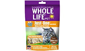 Whole Life Pet Healthy Cat Treats, Human-Grade Whole Chicken Breast, Protein Rich for Training, Picky Eaters, Digestion, Weight Control, Made in the USA, 4 Ounce
