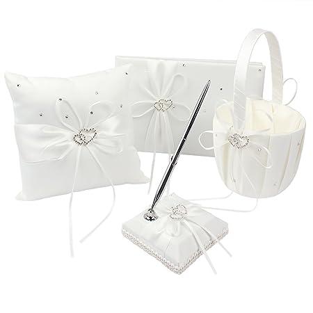 and Pen Guest Book 2  Flower Girl  Baskets 6 PIECE  BRIDAL SET 2 Ring Pillows