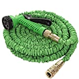 Best Green 50 Foot Expandable Garden Hose, Lightweight Double Latex & Brass Connectors So Very Strong Won't Rust, Rip Or Burst. Retracts By Itself 7 Pattern Lockable Spray Gun & Free PVC Storage Case