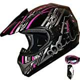 ATV Motocross Off Road Helmet Combo A28 black/pink+gloves+goggles (L)