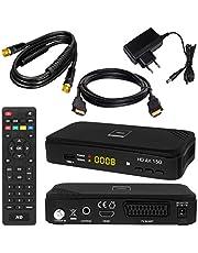 SATELLITEN ontvanger + 7,5 m SAT-kabel zwart + HDMI-kabel: DVB-S/S2 set hoogwaardige SAT-ontvanger (HDTV HDMI SCART USB 2.0, coaxiale uitgang, Opticum AX150) incl. kabel met vergulde aansluitingen