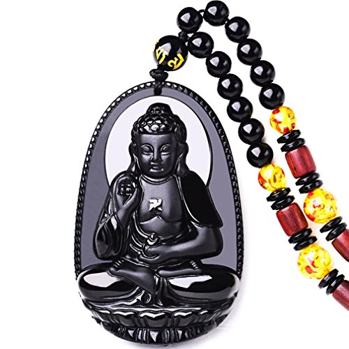 clin-kk Buddha Pendant Necklace Bodhisattva Amulet Talisman Made of Obsidian Gemstone ()