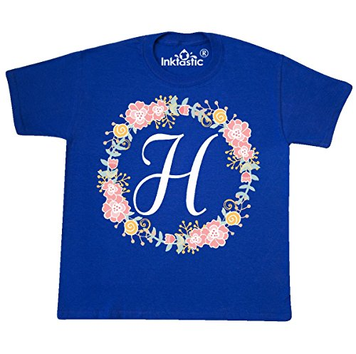 (inktastic - H Monogram Alphabet Youth T-Shirt Youth Small (6-8) Royal Blue 309b4)