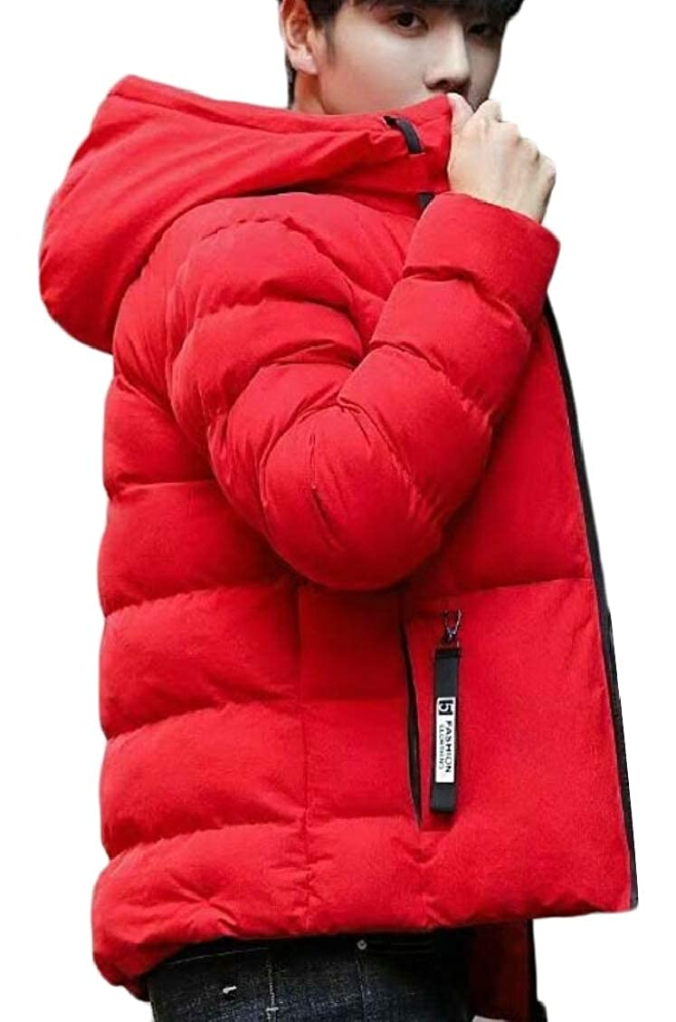 XQS Mens Warm Outdoor Winter Thicken Padded Zip Solid Color Down Jacket Coat
