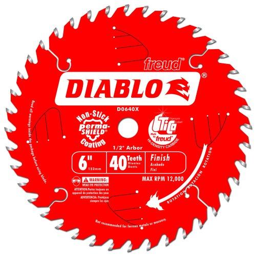 Atb Trim - Freud D0640X Diablo 6-Inch 40 Tooth ATB Trim Saw Blade with 1/2-Inch Arbor