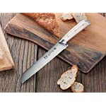 Cangshan S1 Series 59700 German Steel Forged Bread Knife, 8-Inch 17 Patent Pending Design knives that focuses on ergonomics handle with unique creme color Well balanced 5.5-inch handle and 8 blade X50Cr15MoV German Steel with HRC 58 +/- 2 on the Rockwell Hardness Scale