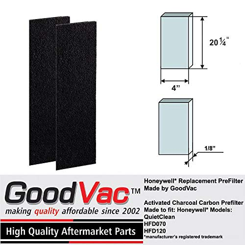 GOODVAC Carbon Odor Removing Replacement Pre-Filter Filter for Honeywell HFD-070, HFD-120 and HFD-123 Series purifiers (1)