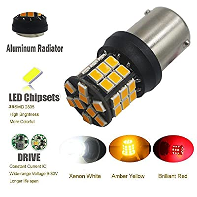 2-Pack 1156 BA15S 7506 1141 1003 1156NA Extremely Bright Amber/Yellow Non-Polarity 2835 39-SMD 9-30V LED Car Replacement Lights for Turn Signal Light Blinker Bulb: Automotive