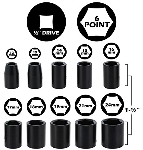 Drixet 1/2'' Drive Shallow Metric Impact Socket Set | 10-Piece 6-Point CR-V Sockets with Case | Includes Sizes: 12, 13, 14, 15, 16, 17, 18, 19, 21 & 24mm by Drixet (Image #1)