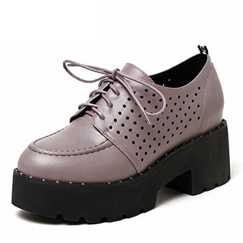 Ronda zapatos de plataforma de plataforma del cabezal en la primavera/relajación profunda/Zapatos con cordones Casualesesese B