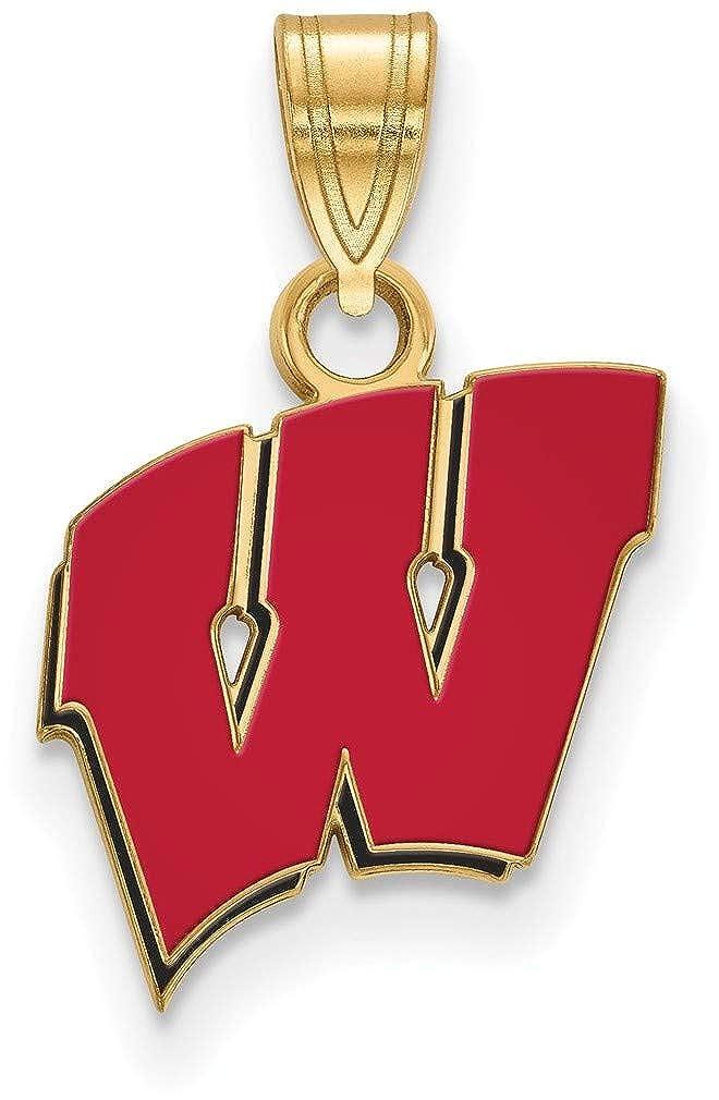 Gold-Plated Sterling Silver University of Wisconsin Small Enamel LogoArt Pendant