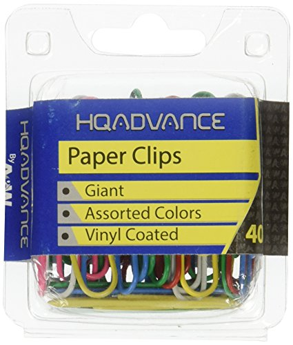 - A & W Office Supplies Paper Clips, Giant - Assorted Colors 40/Pkg