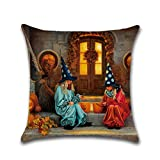"Woaills Series Halloween Home Decoration,Linen Blend Square 18"" Pillow Cover Cushion Case Zipper Closure (F)"