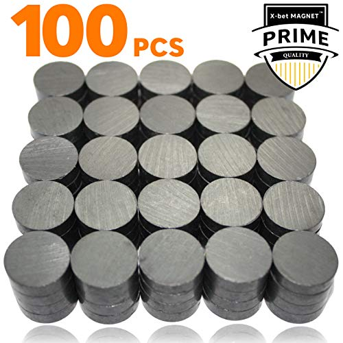 X-bet MAGNET ™ 100 pcs Ceramic Magnets - Tiny 18 mm (.709 inch) Round Disc - Flat Circle Magnets Bulk for Crafts, Science & Hobbies - Perfect for Refrigerator, Whiteboard, Fridge ()