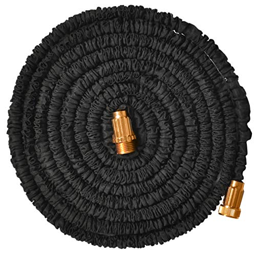 Jundy 25ft Water Hose, Expandable Garden Hose, Flexible Expanding Pressure Water Hose with 3/4″ Metal Connector, 3-Layers Latex Core, Extra Strength Fabric,for Your Watering Needs (Black)