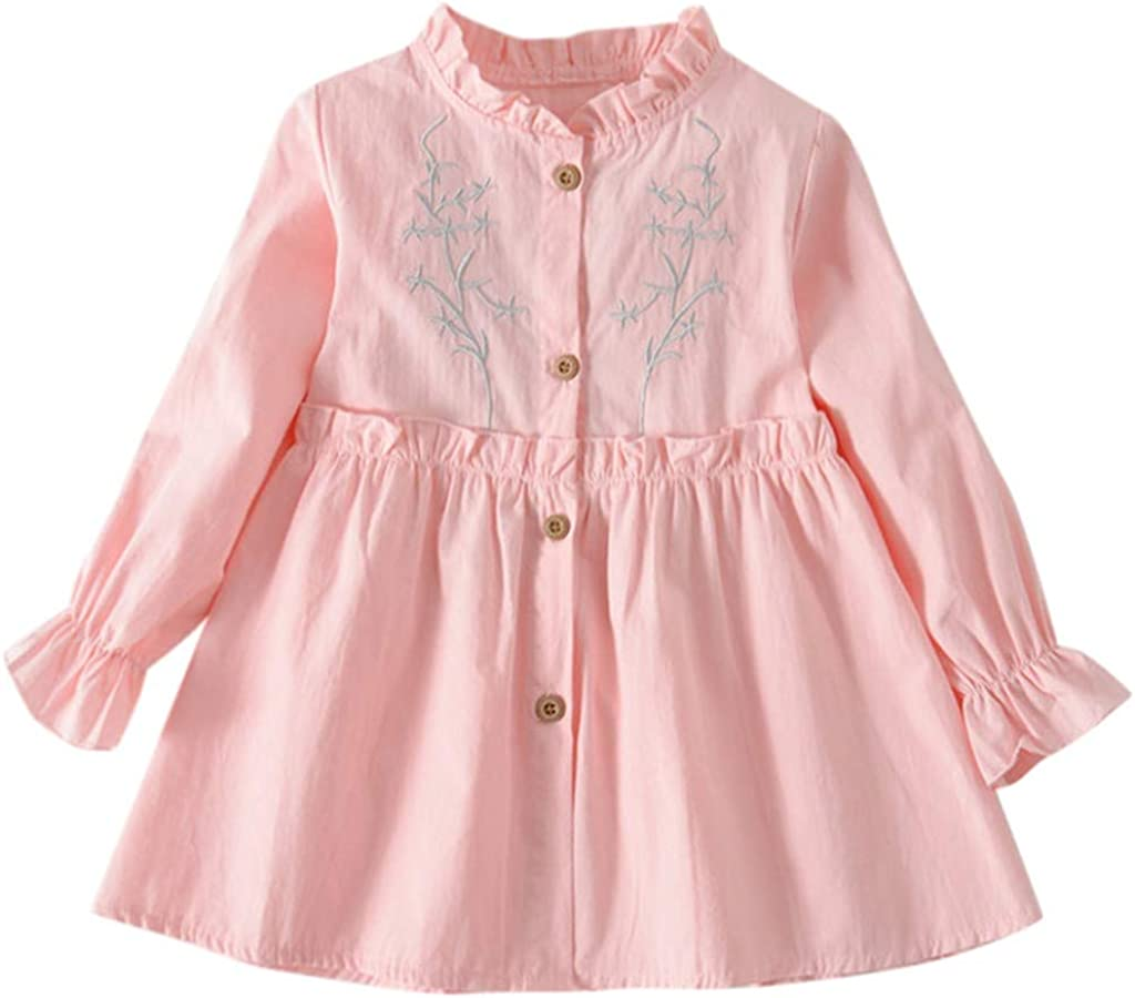NIHAI Girls Casual Dress Cotton Blend Toddler Baby Long-Sleeve Frilled Button Solid Color Print Princess Dress