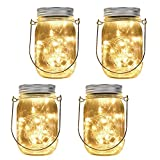 moko bottle string lights, [4 pack] 20 led waterproof solar hanging lanterns mason jar light set,