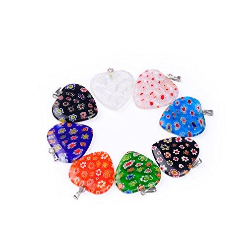 5Pcs/lot Heart Strawberry shape 2525MM Saika Lampwork Glazed Glass Pendant For Necklace DIY Jewelry Making (Mixed)