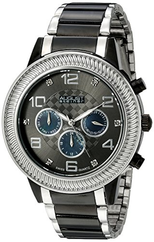 August Steiner Men's AS8121TTB Swiss Quartz Multifunction Diamond Mother-of-Pearl Gun Dial Two-tone Bracelet Watch