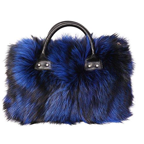 URSFUR Women's Winter Handbag Real Fox Fur Stachel Bag Purse
