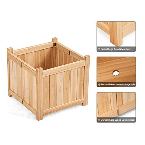 Giantex Portable Flower Planter Box Raised Vegetable Patio Lawn Garden Backyard Elevated Outdoor Wood Planter Boxes (Natural Square) by Giantex (Image #5)
