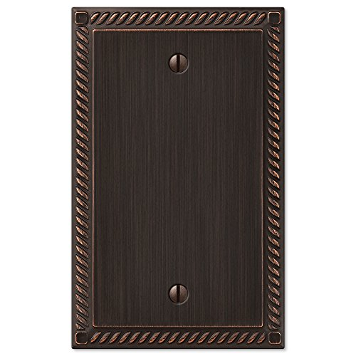 Amerelle Georgian Single Blank Cast Metal Wallplate in Aged Bronze