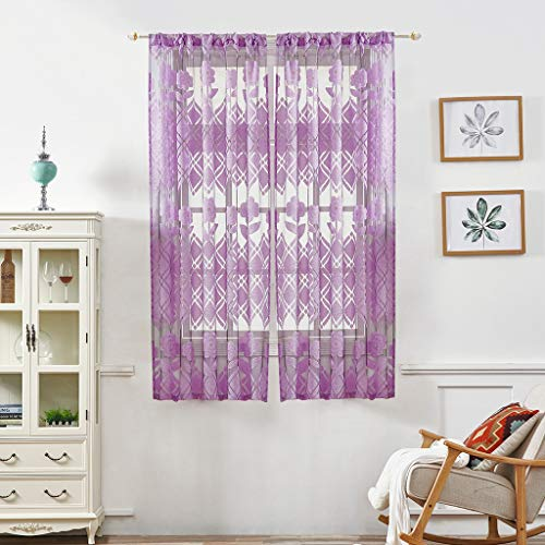 Eve.Ruan 50 x 40in Curtains Selected Material, Durable, Summer Color Sheer Modern Window Curtains with Embroidery Flower Pattern, Use for Home Deco and Background of A Shop Window Display (Purple)