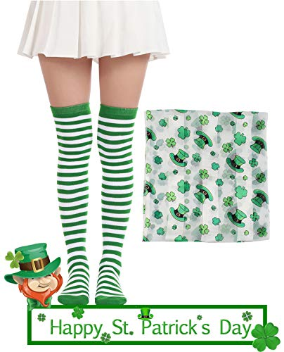 Over Knee Long Sock Striped Mardi Gras Socks St. Patrick's Day Stockings (St. Patrick's Day Socks Scarf ()