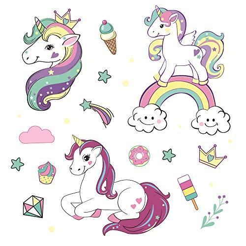 Runtoo Colorful Unicorn Wall Decals Prin...