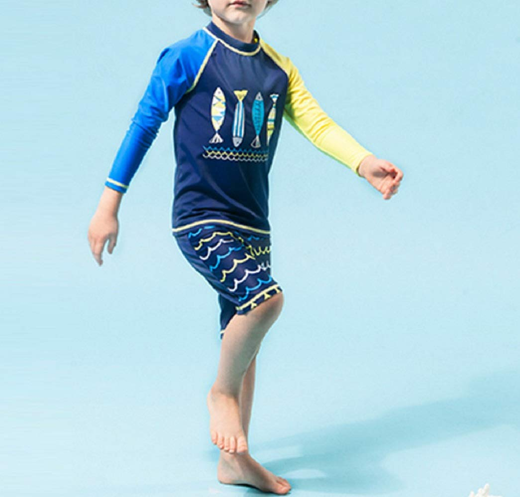 Pullic Kids 2 Pcs Children Long Sleeve Split Swimsuits Kids Sunscreen Fishes Patterns Wetsuit for Water Sports(Dark Blue)