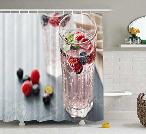 LILYMUA Colors in Water Bathroom Shower Curtains Sparkling Water with Mint and Glass Drink Fruit Soda Bath Curtains Accessory with Hooks Waterproof Fabric Bathroom Decor 72Wx78L