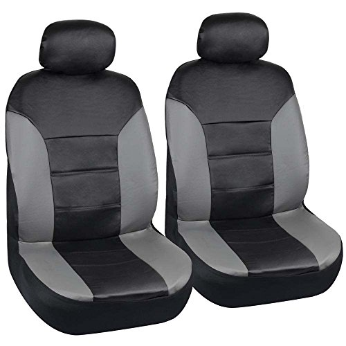 - Motor Trend Two Tone PU Leather Car Seat Covers - Black Classic Accent Gray Sides - Premium Leatherette - Front Pair