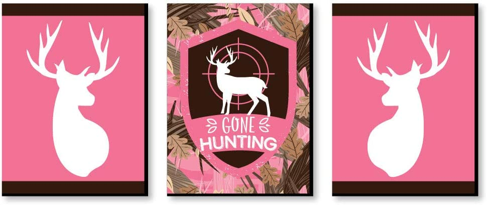 Big Dot of Happiness Pink Gone Hunting - Deer Hunting Decor and Pink Camo Wall Art - Gift Ideas - 7.5 x 10 inches - Set of 3 Prints