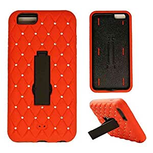 CellTx Jelly Case For Apple (iPhone 6 Plus) Sparkle Case Cover, Locking Kick Stand (Red, Black) AT&T, T-Mobile, Sprint, Verizon, Boost Mobile, U.S Cellular, Cricket by runtopwell