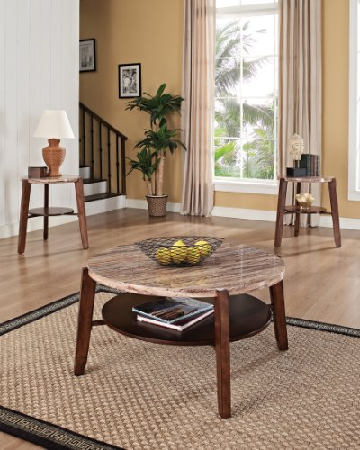 adav Faux Marble Top Coffee/End Table Set, 40 by 18-Inch ()
