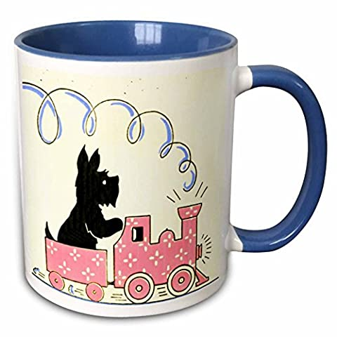 3dRose TNMPastPerfect Animals Dogs - Scottie on His Train - 11oz Two-Tone Blue Mug (mug_172532_6) - Scottie Dog Art